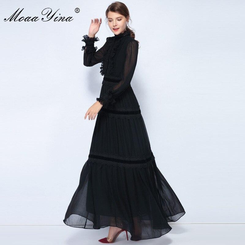MoaaYina Fashion Designer robe printemps femmes lanterne manches dentelle ruché épissé décontracté élégant fête en mousseline de soie Maxi Slim robes - 3