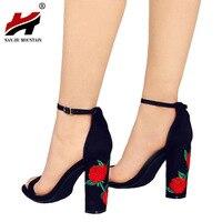 New Ankle Strap Women Sandals Embroider High Heels Open Toe Sandals Woman Elegant Floral Summer Dress