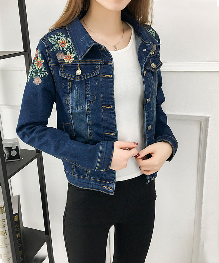 Basic Jacken 2019 Mode Frauen Jacke Hohe Qualität Frühling Und Herbst Neue Gestickte Denim Jacke Frauen Schlank Outwear Bomber Jacke Frauen Lr3