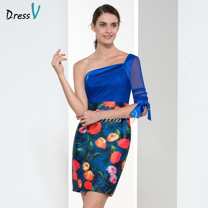 3c8eea7850 Nowy Rok Krótki Drukowane Suknie Koktajlowe 2017 Jedno ramię Długie Rękawy  Royal Blue Party Soical Suknie Ślubne Suknie Party
