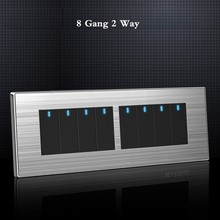 8 Gang 2 Way Luxury Light Switch On / Off Wall Interruptor Stainless Steel Panel 197* 72mm chint lighting switches 118 type switch panel new5d steel frame four position six gang two way switch panel