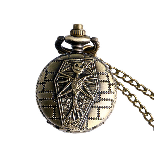 Old Antique Bronze The Nightmare Before Christmas Design Pocket Watch With Necklace Chain Free Shipping