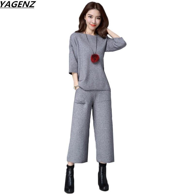 Autunno Moda Donne Del E Wine Maglia Casuali 2017 Black Pantaloni Set Due Pezzi Pullover gray Vestito Primavera Larghi Maglione Yagenz Maglieria K577 red Piedino qXSwnISxr7