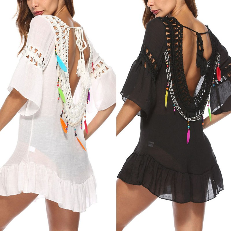 2328508852fbc Female Black Hollow Out Sexy Mini Dress Woman Crochet Tunic Beach Coverups  Swimwear Summer Biki-ni SwimBeach Dresses