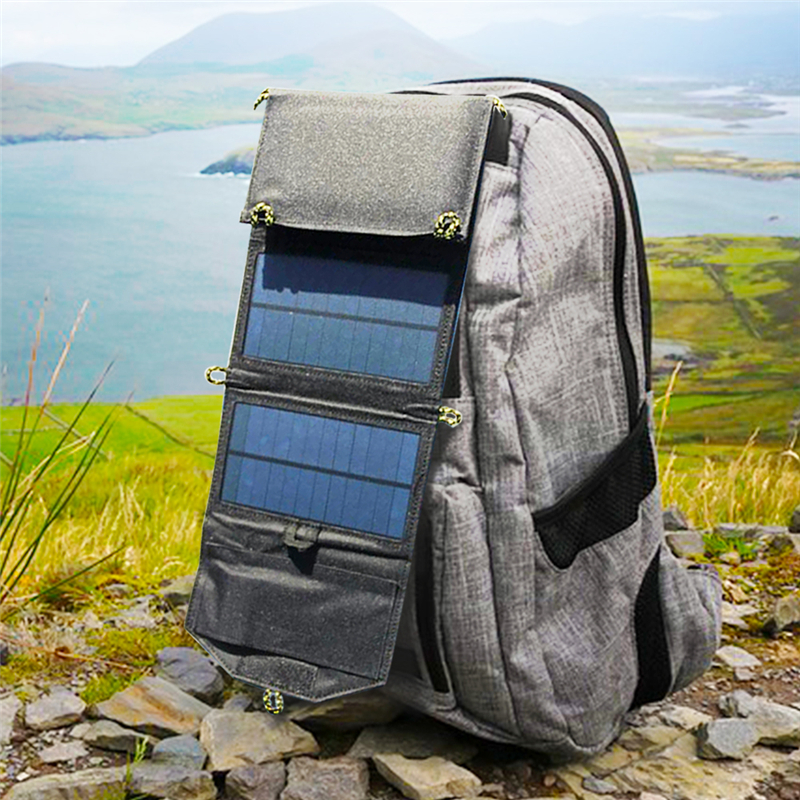 Image 2 - Portable folding 7W Solar Panel 5V USB Output Portable Foldable Power Bank Solar Charger for Outdoor Smartphone Solar Powerbank-in Power Bank from Cellphones & Telecommunications