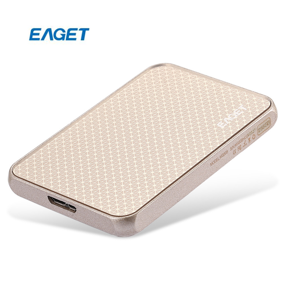 EAGET MS608 USB3.0 External Solid State Drive SSD 256GB High Writing And Reading Speed Mobile HDD For Desktop And Laptop PC