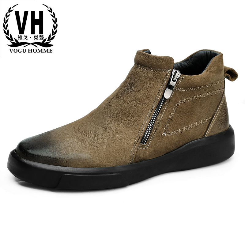 Autumn winter Korean business casual men Genuine leather high top shoes Martin boots youth all-match cowhide men's Chelsea boots