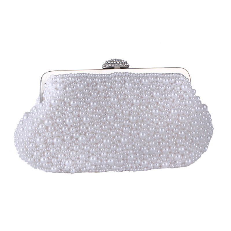 Factory direct sell 2019 female bag new handmade shell pearl handbag fashion evening party handle bag bride weeding bag clutch in Top Handle Bags from Luggage Bags
