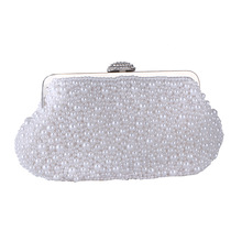 Factory direct sell 2019 female bag new handmade shell pearl handbag fashion evening party handle bride weeding clutch