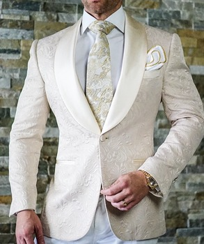 2019 Champagne Jacquard  Wedding Mens Suits For Wedding Slim Fit Groom Tuxedos Shawl Lapel Two Pieces Custom Made Best Man Suit