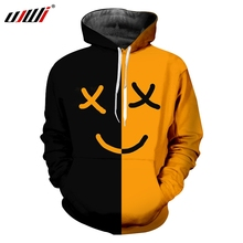UJWI Man Smiley Face Sports Hoodies 3D Printed Black Yellow