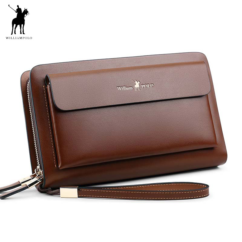 bf401c21179 Business Mens Brand Clutch Bags WILLIAMPOLO Real Leather Phone Credit Card  Organizer Large Wallet 2019 Fashion Zipper Hand Bag