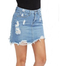 Casual High Waist Denim Skirt Blue Light Wash Women Distressed Mini Pencil Skirt ladies Sexy Ripped Summer vintage jeans skirt(China)