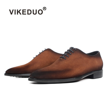 VIKEDUO Coffee Men's Suede Shoe Casual Square Oxford Dress Shoes Patina Wedding Office Formal Mans Footwear Luxury Zapato Hombre