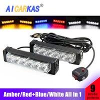 AICARKAS LED Flash Warning Light Bar 2X 6LED White Amber Red Blue Emergency Strobe Bulbs Safety Flashing Lights for Car 12V
