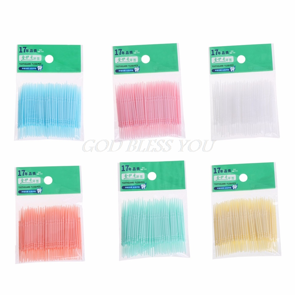 100PCS/Lot Soft Plastic Double-headed Brush Stick Floss Pick Toothpick Oral Care 6.3cm