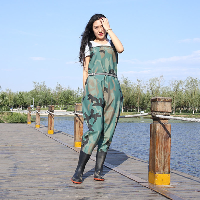 High-Jump Camouflage 0.8mm Breathable Chest Clothing for Fishing PVC Waterproof Chest Height Fly Fishing Waders Hunting Overalls high jump camouflage fishing waders 0 7mm pvc breathable waterproof chest fishing wader unisex dichotomanthes end fishing waders