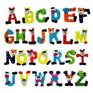 Wooden Cartoon Alphabet A-Z Magnets Child Educational Toy English Letters Fridge Magnet Kids Educational Alphabet Fridge Magnet