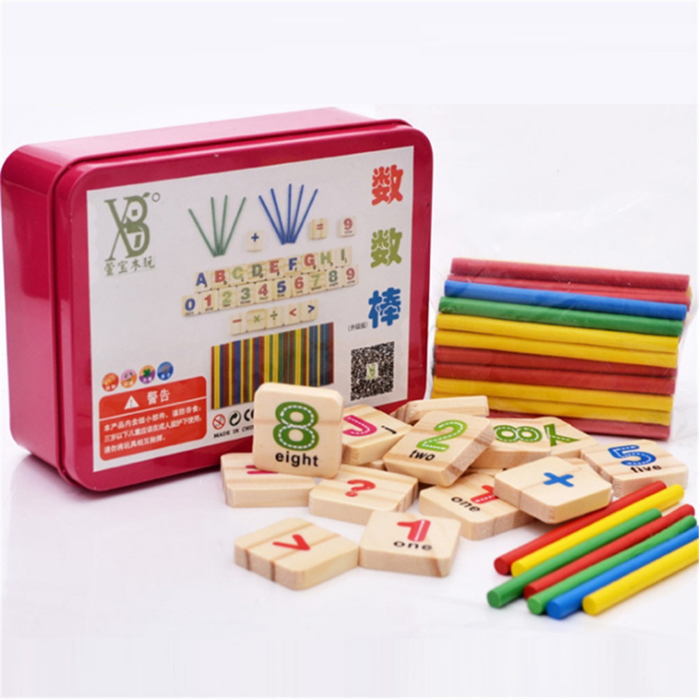 Children Wooden Numbers Mathematics Kids Children Math Toys Early Learning Counting Educational Toy Wooden Box