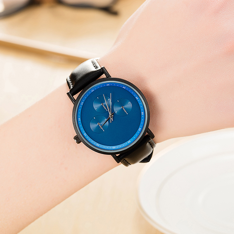 Top Luxury Brand Simple Unisex Wristwatches Fashion Quartz Watch for Men and Women Genuine Leather Male Wristwatches Gifts Black