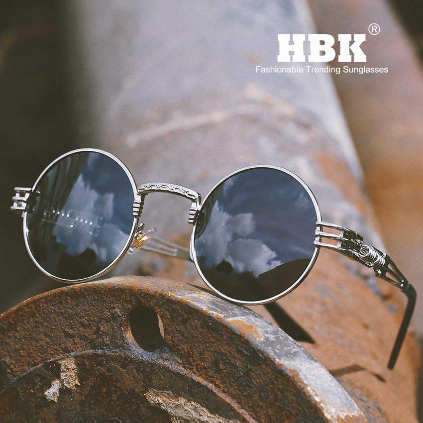 1977ace40970c HBK 2019 Cool Retro Rock&Roll Steam Punk Sun Glasses For Men Fashion Vintage  Round Metal Steampunk