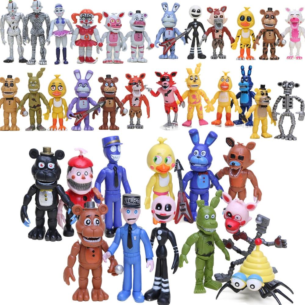 In Stock Five Nights At Freddy's Action Figures Set FNAF Foxy Chica Bonnie Freddy Fazbear Sister Location Model Dolls FNAF Toys