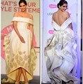 Appliqued A Linha de Cetim Vestido Da Celebridade Backless Ruched Mostrado Vestidos 2016 Atacado Estrela Do Oriente Médio Vestido 2363