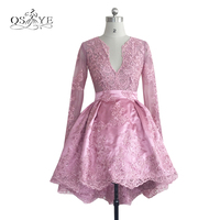Vintage Pink Lace Beaded Ball Gown Short Homecoming Dresses 2017 V Neck Long Sleeve Applique Satin Prom Party Gown Custom Made
