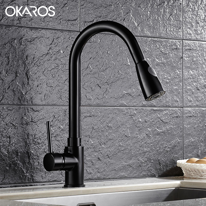 water filter for pull down faucet. OKAROS Pull Out Down Kitchen Flexible Faucet Brass Nickle Brush Black Baked Water  Filter Vessel Sink Tap Mixer In Faucets From Home