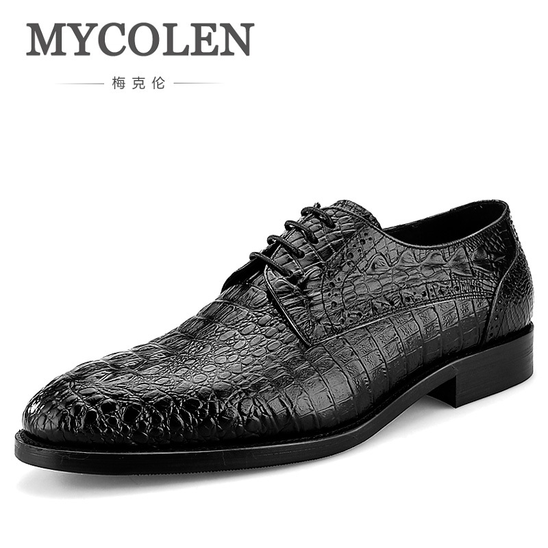 MYCOLEN High Quality Luxury Dress Shoes Genuine Leather Fashion Crocodile Men Business Formal Shoes Elegant Lace Up Man Shoes mycolen new fashion men shoes genuine leather men dress shoes high quality comfortable men s business gentleman shoes man