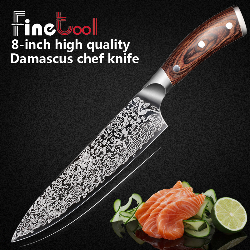 Kitchen Knife 8 inch Professional Chef Knives Japanese 7CR17 440C High Carbon Stainless Steel Meat Santoku Knife Micarta Handle image