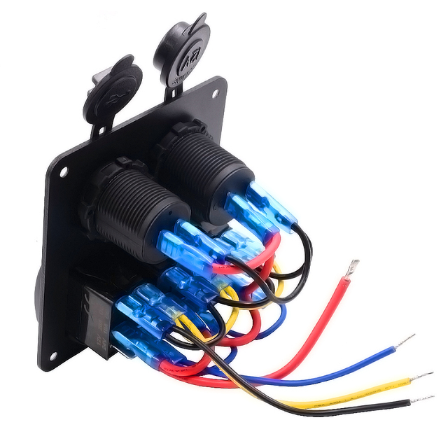 Marine/Boat Car Switch Panel 3 Gang with Cigarette Socket and Dual USB Slot Blue LED light On/Off Rocker Switch