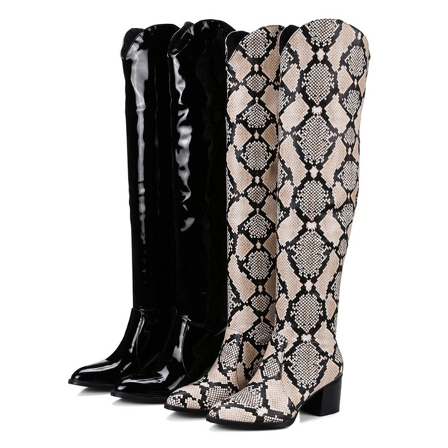 KESMALL Snake Boots Oversized Women Boots Fashion Shoes Luxury Shoes Women Designers Serpentine Boots Sexy Soft Ladies Shoe
