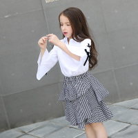 2018 Girls Suits Flare Sleeve Cotton Blouse Plaid Skirts 2pcs Kids Girls Clothing Set Spring Autumn Girls Clothing Size 8 10 12