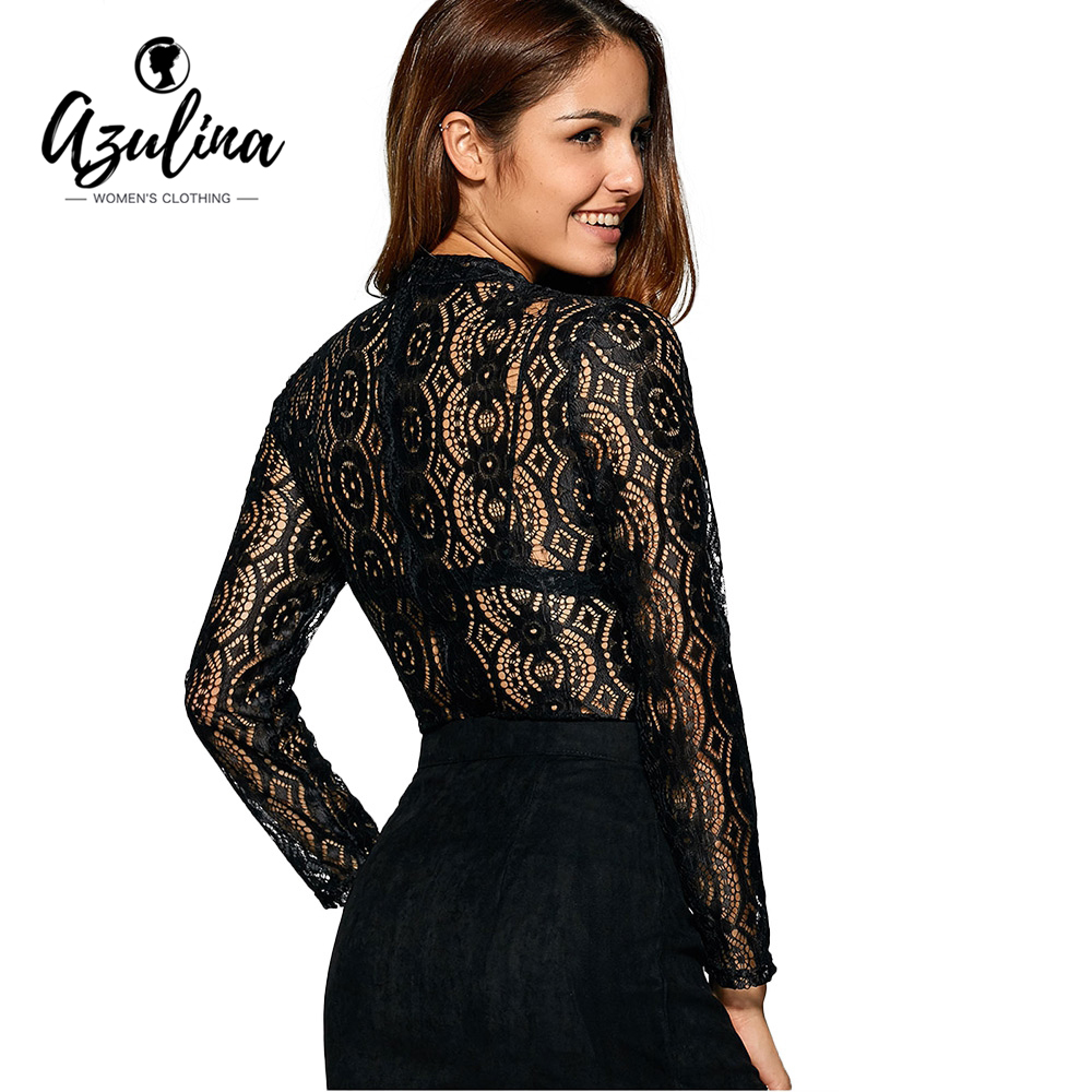 AZULINA Sexy negro floral lace top ladies opacidad hollow out crochet blusa Muje