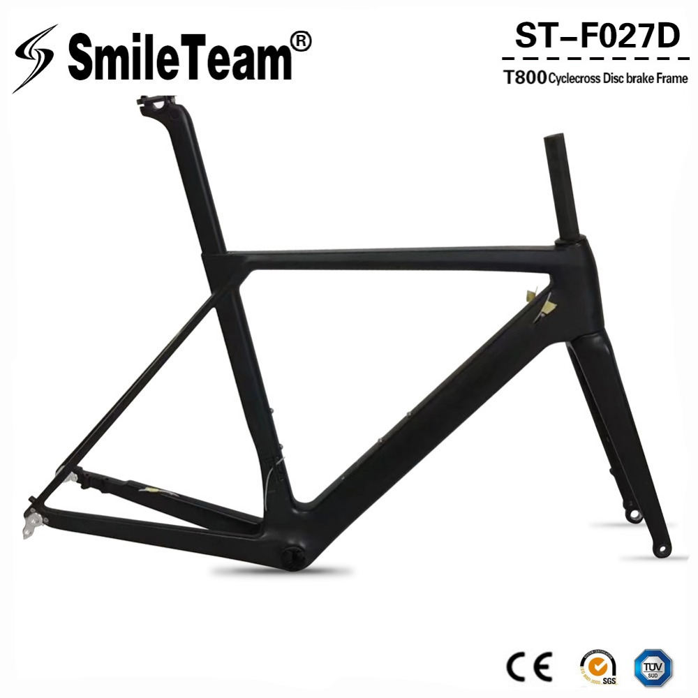 Smileteam 2018 NEW Disc brake Carbon Road Bike Frame UD Black Aero Full Carbon Road Bicycle Frame 142*12mm Thru Axle Frameset smileteam new 27 5er 650b full carbon suspension frame 27 5er carbon frame 650b mtb frame ud carbon bicycle frame