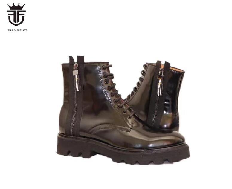 FR. LANCELOT/новые кожаные ботинки, мужские ботинки из лакированной кожи, мужские короткие ботильоны на толстом каблуке, вечерние для на резиново
