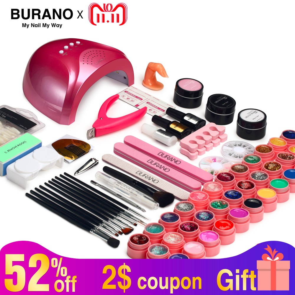 set for manicure BURANO 48W UV LED Nail lamp 25 LEDs Nail dryer & 36 colors uv gel Nail polish Art Tools nail Set Kit burano uv led lamp