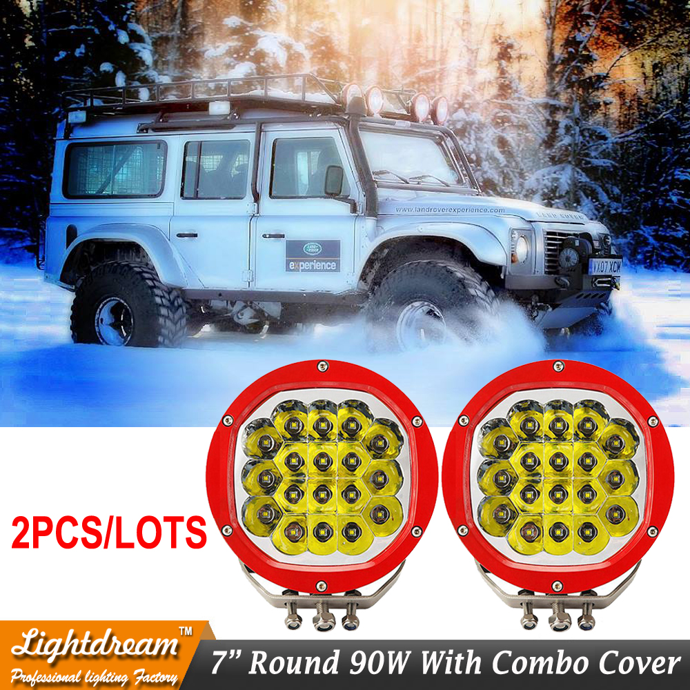 High Power 90W LED Work Light For Tractor Truck ATV 12v 24v Led IP67 Black Red Off road LED Drive light Round lights x 2pcs/lots 90w led driver dc40v 2 7a high power led driver for flood light street light ip65 constant current drive power supply