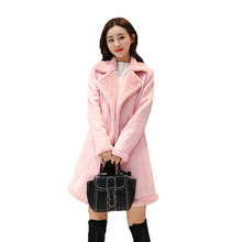 B 2018 new Winter jacket  Faux Suede Leather Jackets women Loose Coat Medium Long Faux Lambs Wool Coat  Woman Shearling Coats цена 2017