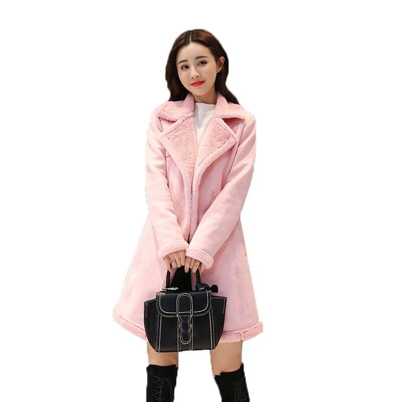 Veste Nouvelle Rose Cuir En Faux Femmes 2018 Laine Vestes Manteaux Femme Lâche Suede B Manteau Long D'hiver marron Mouton Peau Agneaux Moyen De 51IwnEYnq0