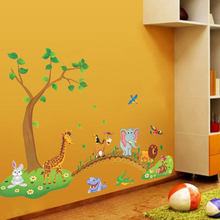3D Cartoon wild animal tree bridge flowers wall stickers for kids room living room lion Giraffe elephant birds home decor