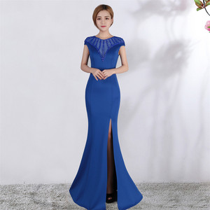 Image 5 - Its Yiiya Evening dress V neck Short sleeves Beading Party gowns Sexy Floor length zipper back Formal Mermaid Prom dresses C174