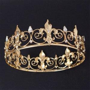 Image 4 - Adjustable Gorgeous Crystal Wedding Men Tiara Crown For Men Headpiece Rhinestone Hair Ornaments Wedding Head Jewelry Accessories