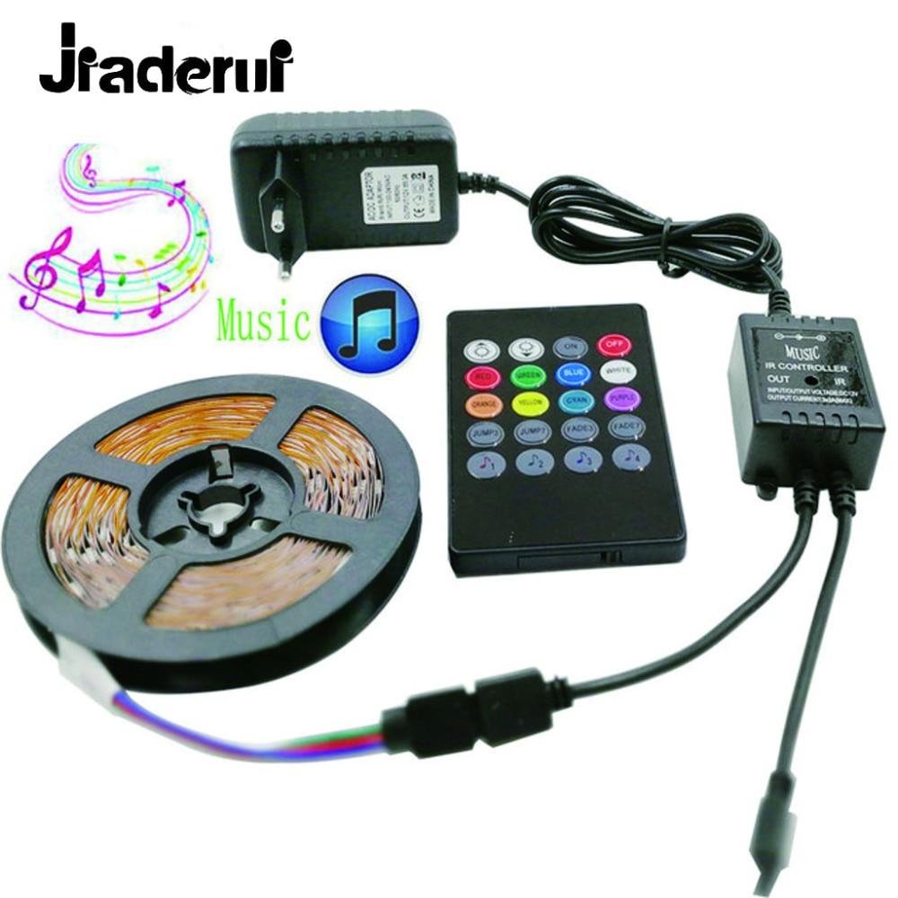 Jiaderui LED Strip Light RGB SMD 5050 AC 220V 5m DC 12V LEDs Light Tape Diode Waterproof 30leds/m Flexible Strip Power Full Set