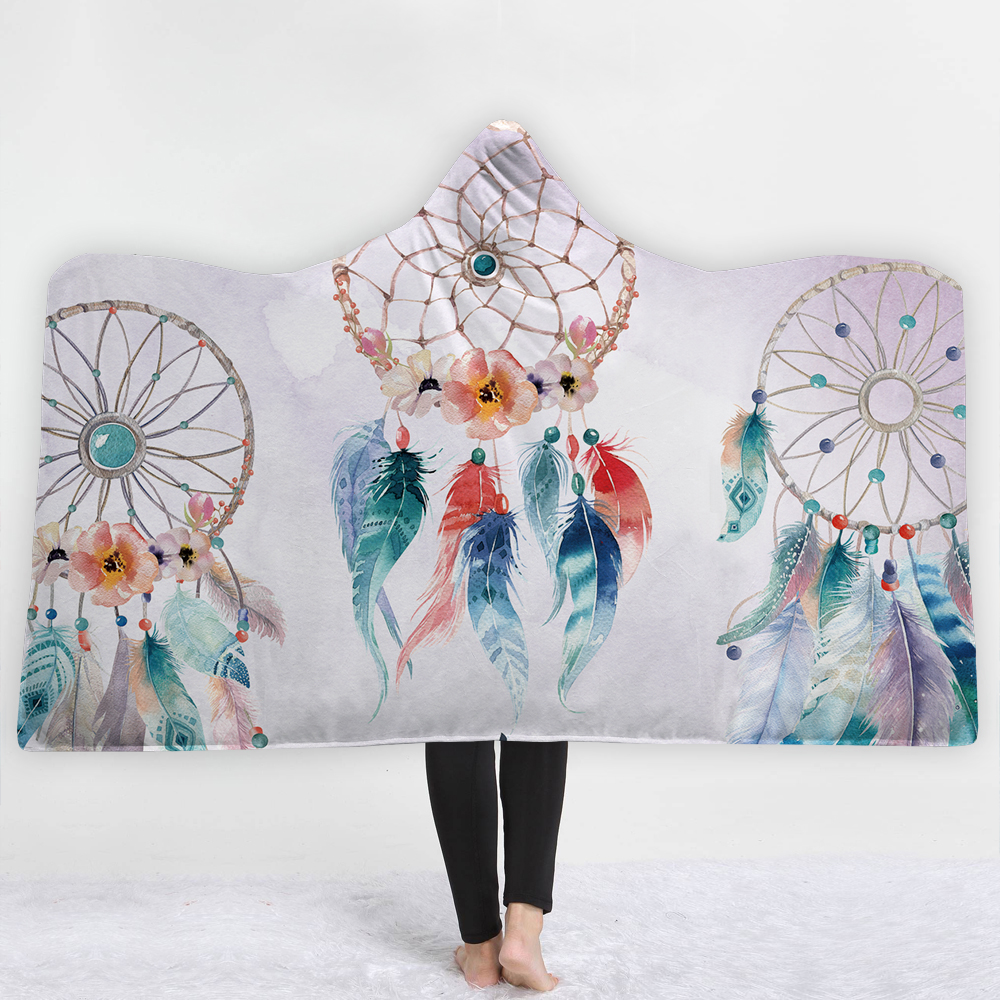 New Wearable Hooded Blanket Fashion Dream Catching Net Printing Wool Fabric Sofa Sofa Bed Cover Carpet <font><b>150</b></font> * <font><b>200</b></font> Cm /<font><b>150</b></font> * 130cm image