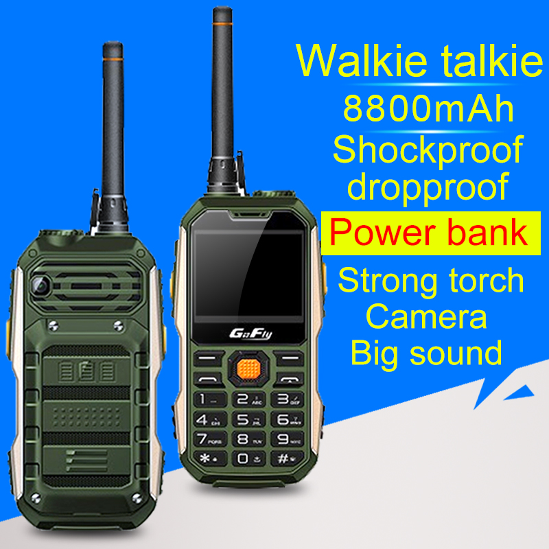 M8800 Shockproof Mobile Phone with UHF Walkie Talkie 400 470 MHZ Belt Clip Power Bank Speed