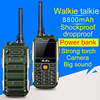 M8800 Shockproof Mobile Phone with UHF Walkie Talkie 400-470 MHZ Belt Clip Power Bank Speed Dial Big Sound 3W Torch Bluetooth