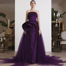 Lisong Eggplant Purple Straight Evening Gowns with Tulle Overskirt Party  Dress 823bd94ec4ec