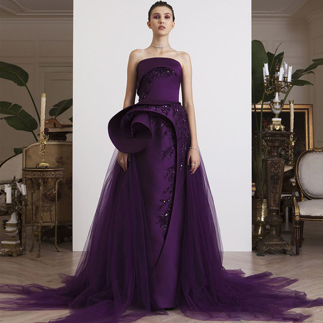 New Arrival Eggplant Purple Straight Evening Gowns with Tulle Overskirt Off  Shoulder Peplum Beaded Long Party Dress Formal Wear 345d0f40f579